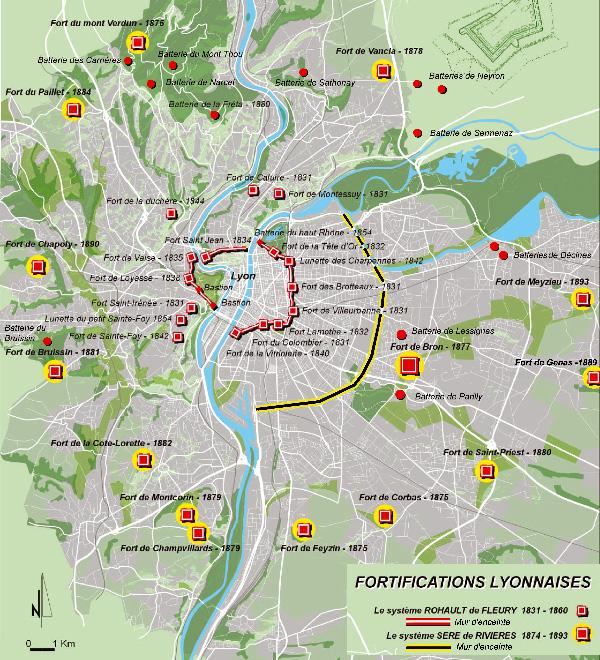 Carte des fortifications lyonnaises montrant le système Rohault de Fleury et le système Séré de Rivières.