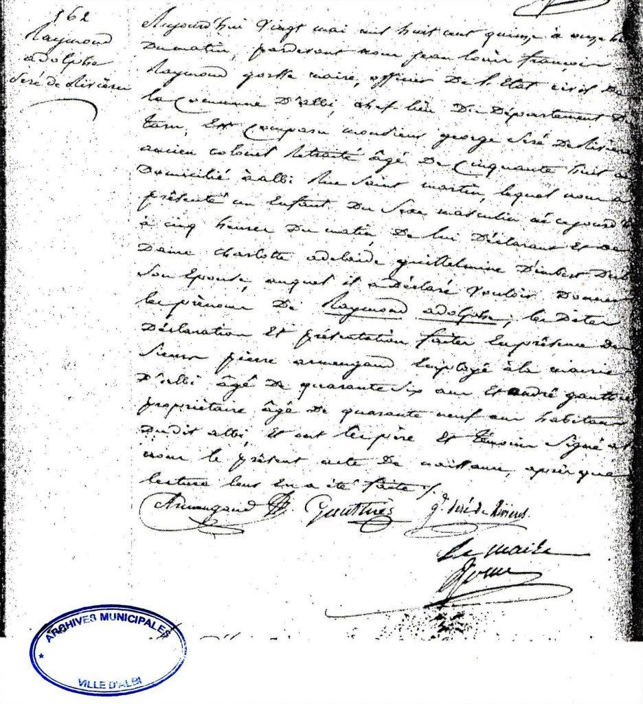 Acte de naissance du général Séré de Rivières provenant des archives de la municipalité d'Albi.