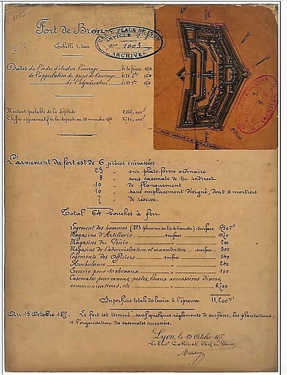 Etat du Fort de Bron en 1877 (Source : archives du Génie/ Raphaël Pallas)
