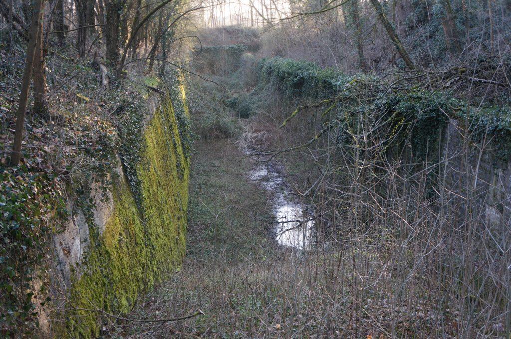 Les fossés coté Veolia en 2018 : la végétation envahit les fossés.