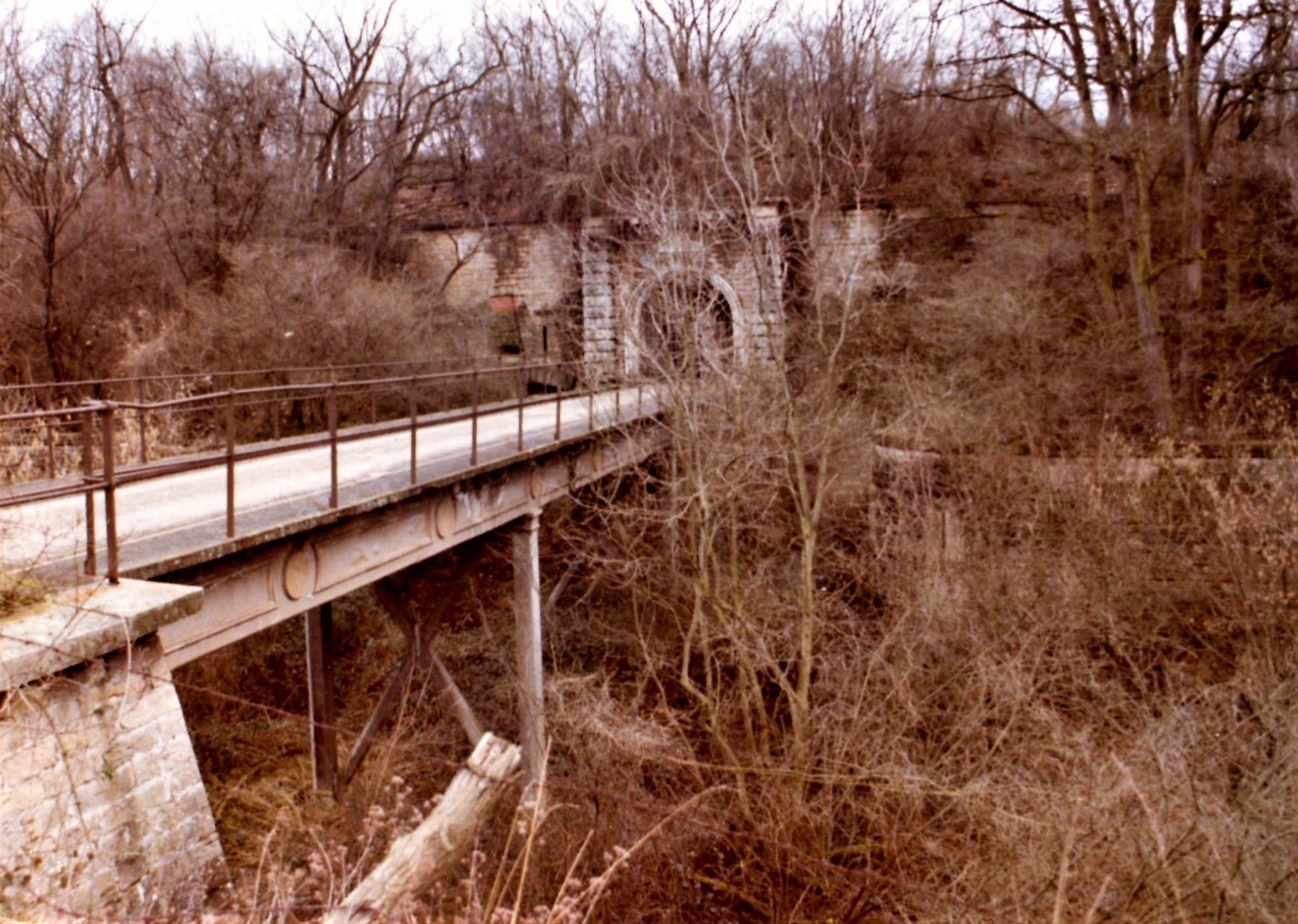 Le pont dormant à l'entrée du Fort de Bron en 1978. la végétation a envahi les fossés.