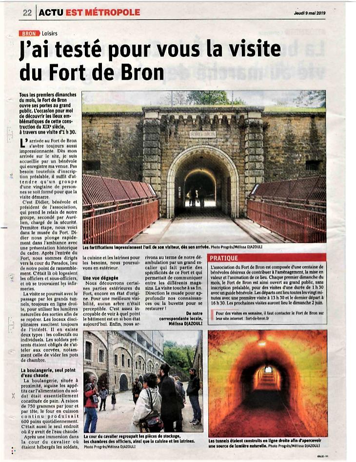 article du Progrès 9 mai 2019 j'ai testé pour vous la visite du Fort de Bron