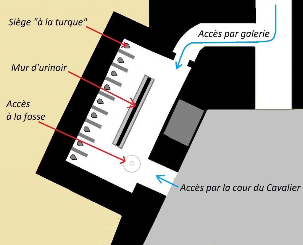 Le plan des latrines situe le mur d'urinoir et les 9 sièges à la turque séparés par une cloison.