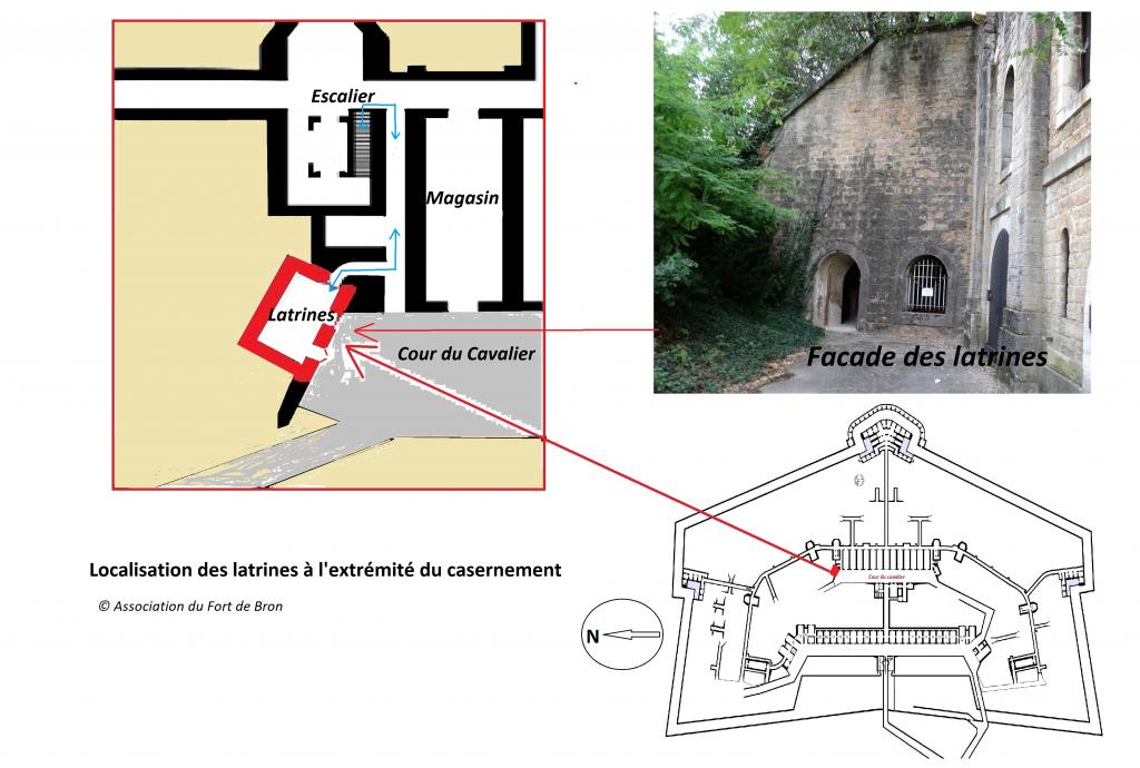 Plan de localisation des latrines situées dans le prolongement du casernement du Fort de bron