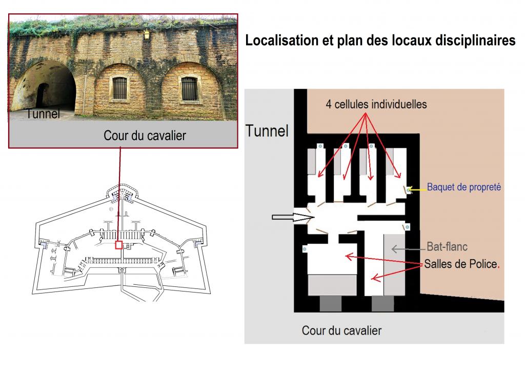 Localisation et plan des locaux disciplinaires du Fort de Bron