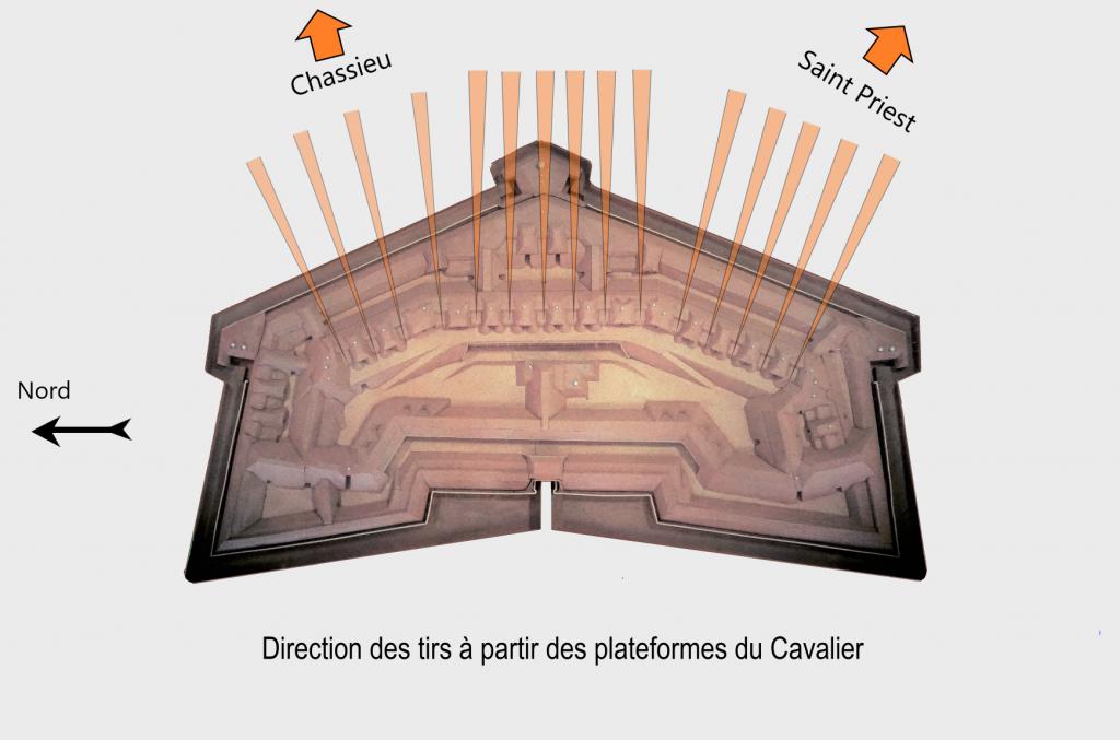 Maquette montrant les directions de tirs des canons placés sur le cavalier, élévation de terre du Fort de Bron.