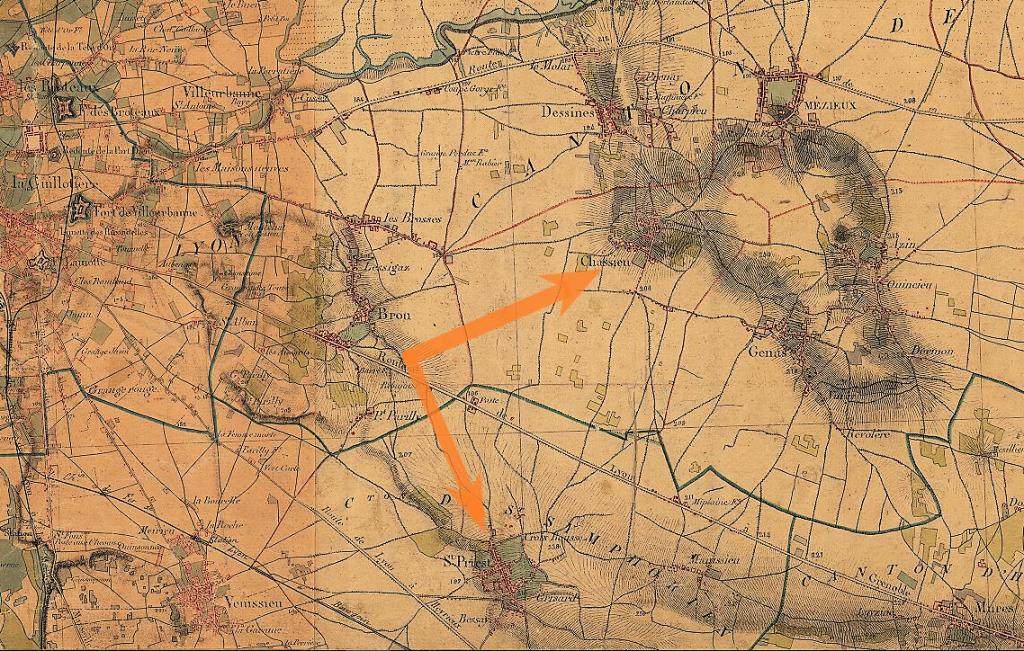 Extrait de Carte d'Etat Major de la Région lyonnaise 1866