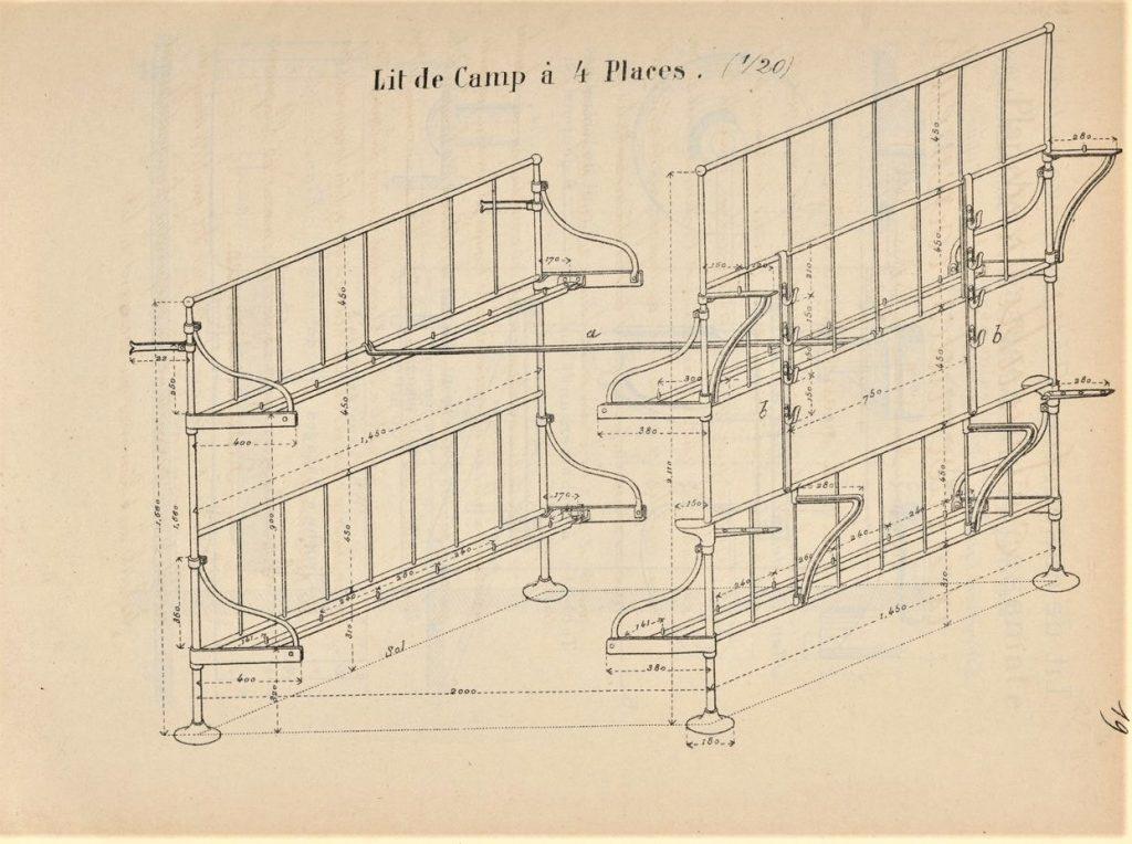 lit à 4 places école d'application de l'Artillerie et du Génie - Goetschy -1884)