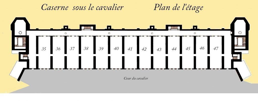 Plan de la caserne du cavalier du Fort de Bron