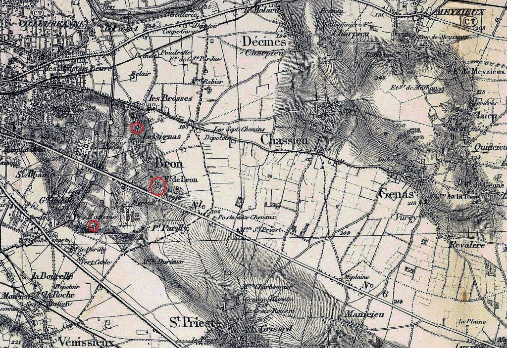 Extrait carte 1889 révisé 1902 fort de Bron et Batteries de Lessignas et Parilly