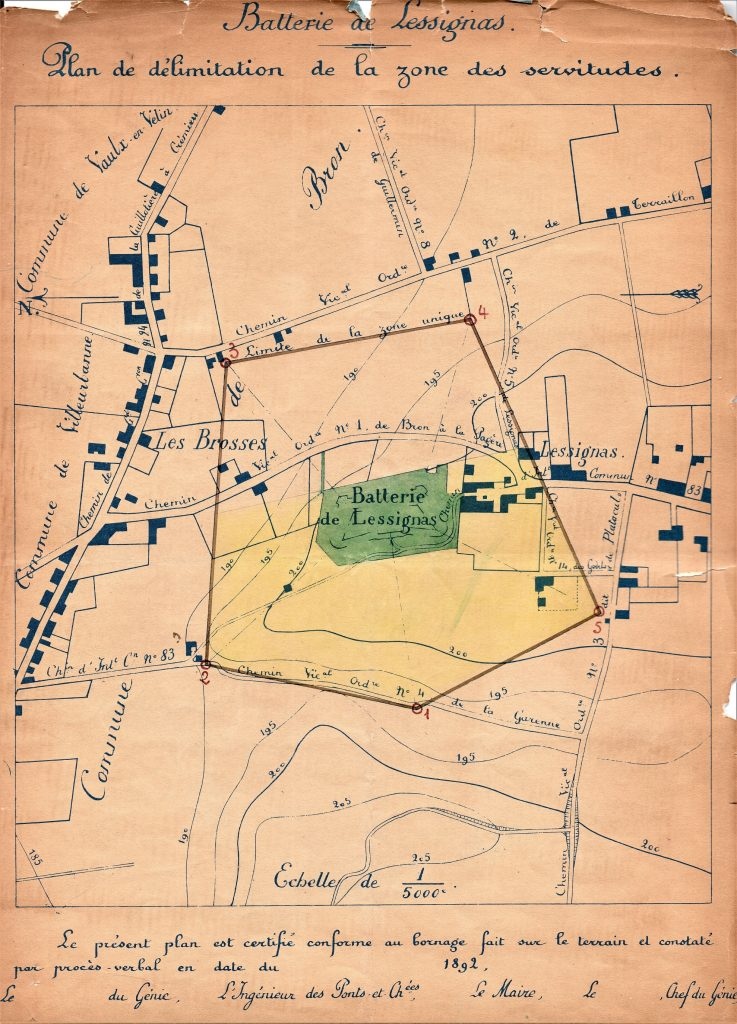 Plan de la zone des servitudes de la batterie de Lessivas.