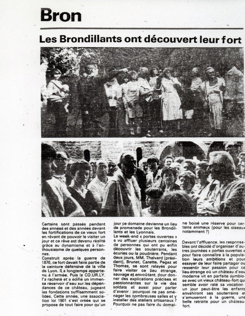 Septembre 1982 - Première ouverture du Fort de Bron au public