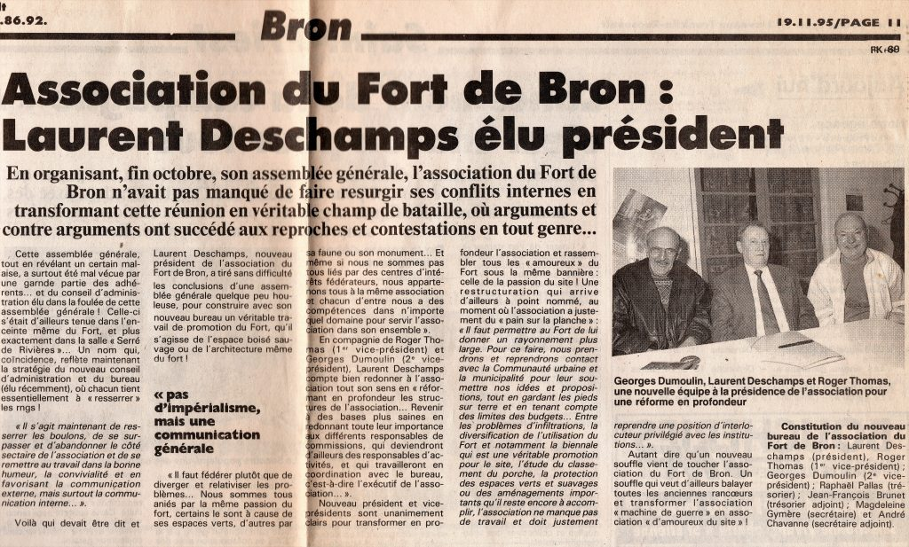 Laurent Deschamps, élu Président de l'Association du Fort de BRON