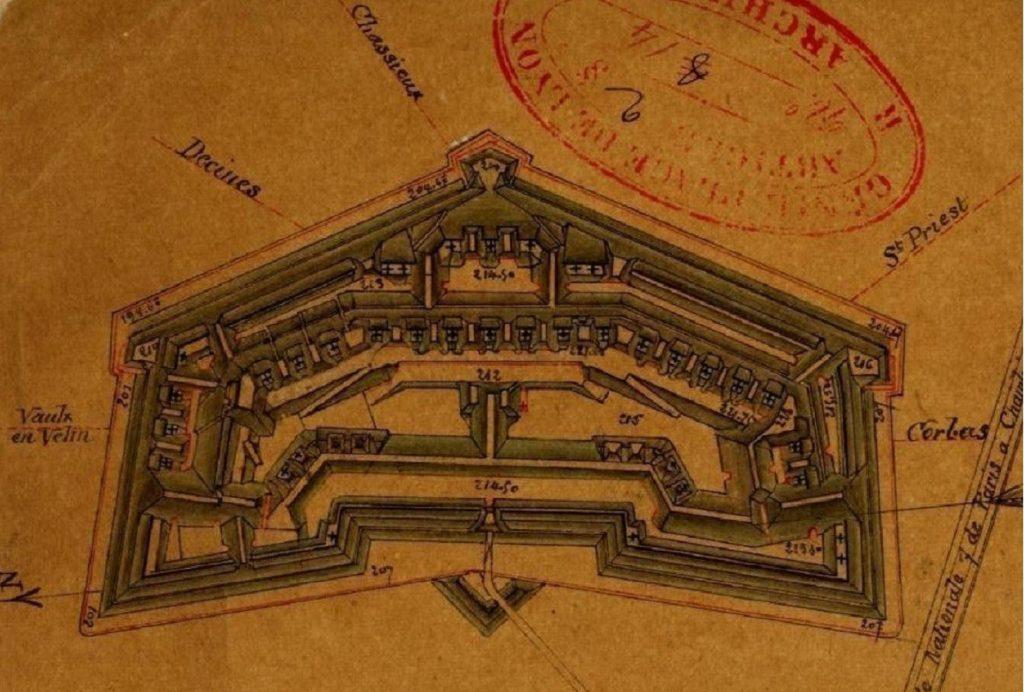 Plan du Fort de Bron 1877