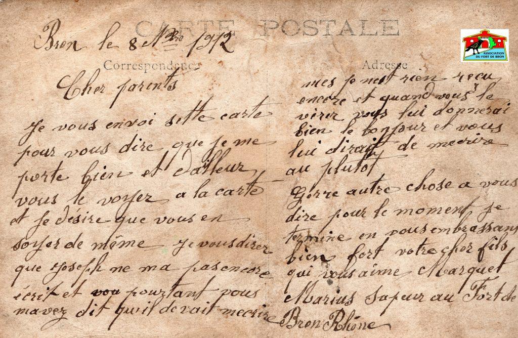Texte d'une carte postale d'un sapeur au Fort de Bron en novembre 1912