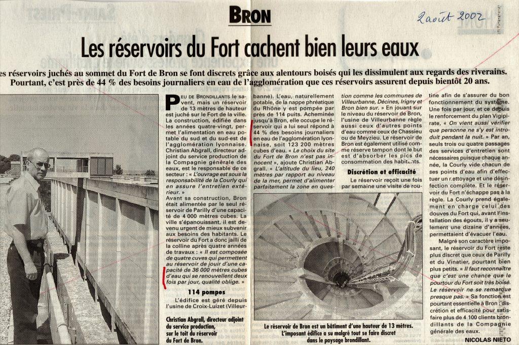 Les réservoirs du Fort de Bron - 36 000 m3 d'eau - Article du progrès du 2 aout 2002
