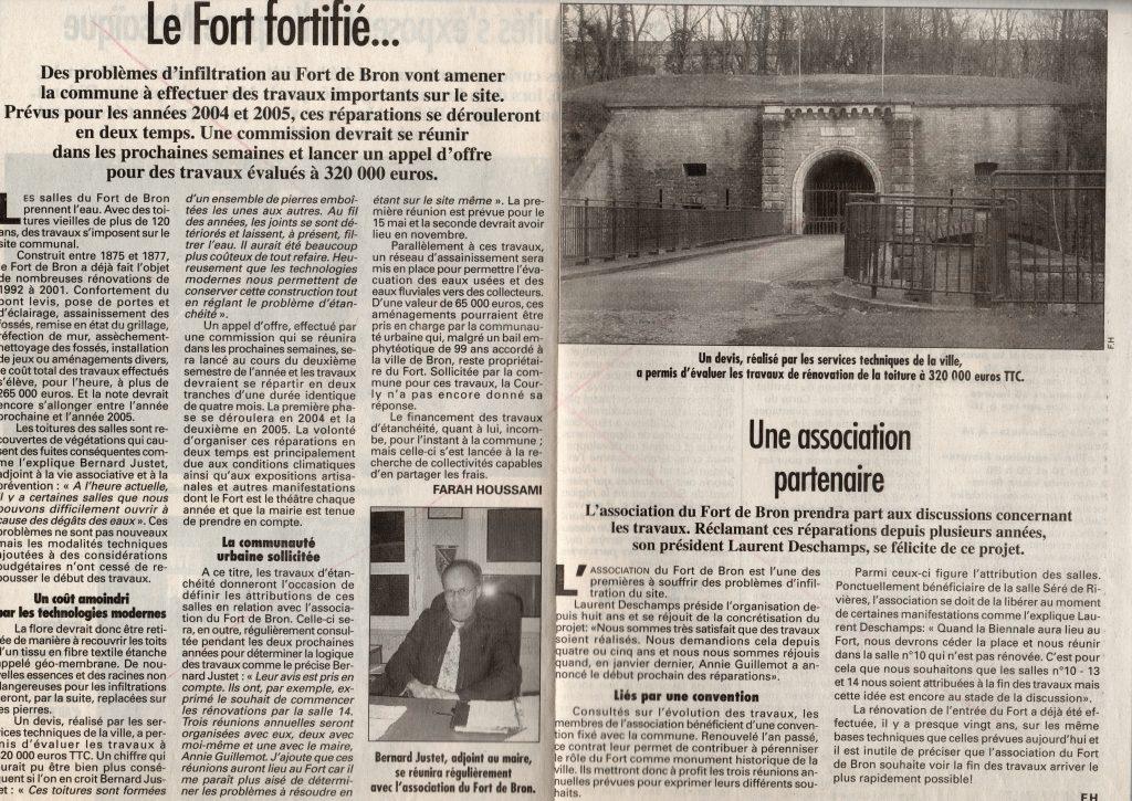 Le Progrès 4 mars 2003 - Infiltration des toits du Parados